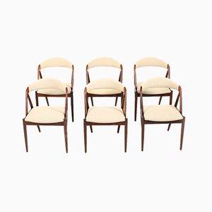 Chaises de Salle à Manger Modèle 31 en Tissu et Palissandre par Kai Kristiansen pour Schou Andersen, Danemark, 1960s, Set de 6