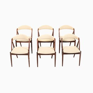 Model 31 Danish Fabric and Palisander Dining Chairs by Kai Kristiansen for Schou Andersen, 1960s, Set of 6