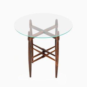 Mesa auxiliar danesa de vidrio y palisandro de Poul Hundevad para PJ Furniture, años 50