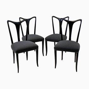 Italienische Esszimmerstühle mit Stoffsitz & Holzgestell von Guglielmo Ulrich, 1950er, 4er Set
