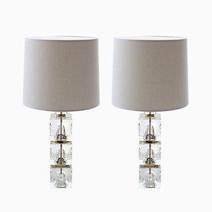 Moderne Tischlampen mit 3-teiligem Glasfuß im skandinavischen Stil von Carl Fagerhult für Orrefors, 1960er, 2er Set