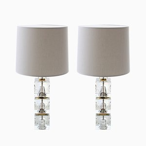 Scandinavian Modern Table Lamps with 3-Part Glass Base by Carl Fagerhult for Orrefors, 1960s, Set of 2