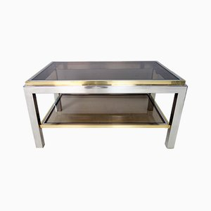 Italian Modern Brass and Smoked Glass Flaminia Coffee Table by Willy Rizzo, 1970s