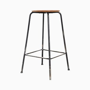 Mid-Century Teak and Tubular Steel Stool, 1950s
