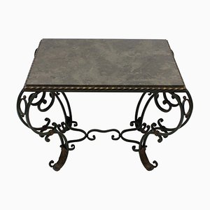 Vintage French Wrought Iron & Blue Limestone Table, 1940s