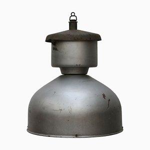 Lámpara de techo industrial Mid-Century de metal gris, años 50