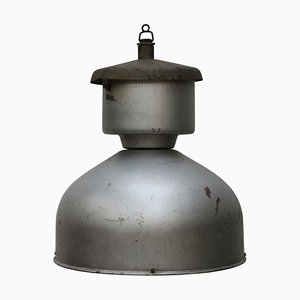 Mid-Century Grey Metal Industrial Ceiling Lamp, 1950s
