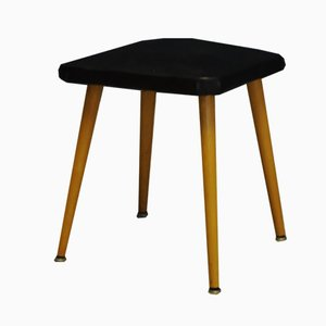 Mid-Century Danish Vinyl and Wood Stool, 1960s