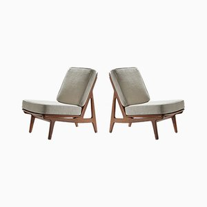 Model FD 172 Slipper Chairs by Peter Hvidt & Orla Mølgaard-Nielsen for France & Søn, 1960s, Set of 2