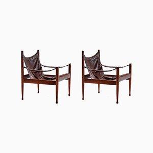 Dänische Safari Stühle mit Lederbespannung & Gestell aus Palisander von Erik Wørts für Niels Eilersen, 1960er, 2er Set