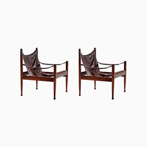 Danish Leather & Rosewood Safari Chairs by Erik Wørts for Niels Eilersen, 1960s, Set of 2