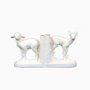 Art Déco Buchstützen aus Keramik von Katzhutte