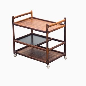 Danish Rosewood and Veneer Trolley by Johannes Andersen for CFC Silkeborg, 1960s