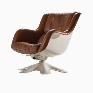 Scandinavian Modern No. 418 Fiberglass & Leather Lounge Chair by Yrjo Kukkapuro for Haimi, 1960s