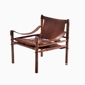 Moderner Armlehnstuhl mit Lederbespannung & Holzgestell im skandinavischen Design von Arne Norell für Arne Norell AB, 1964