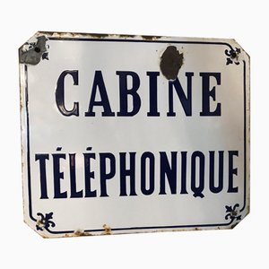 Cartel de cabina telefónica vintage esmaltada