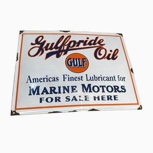 Cartel vintage esmaltado del Golfo