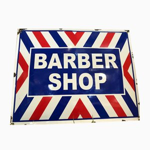 Emailliertes Vintage Friseur-Schild