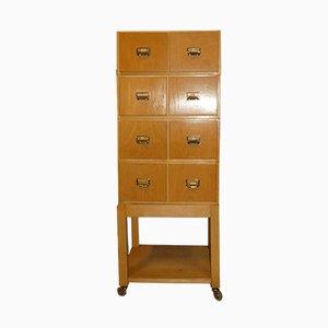 Mueble de oficina Mid-Century de madera, años 50