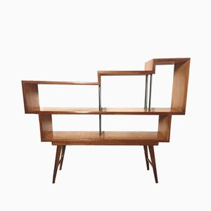 Freestanding Mid-Century Italian Beech and Anodized Aluminum Shelf, 1960s