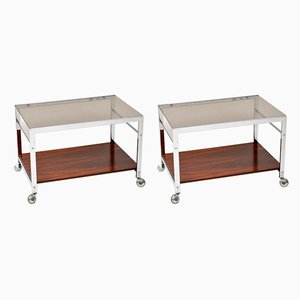 Rosewood and Glass Side Tables from MDA Associates, 1960s, Set of 2