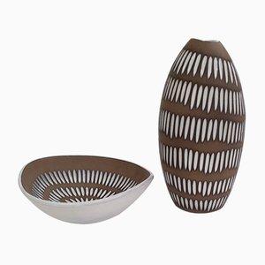 Schwedische Keramikwaren von Ingrid Atterberg für Upsala Ekeby, 1950er, 2er Set