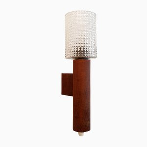 Mid-Century Swedish Teak and Glass Wall Lamp, 1950s