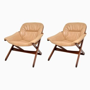 Leather and Wood Armchairs, 1970s, Set of 2