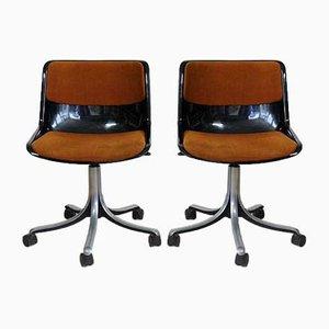 Sillas de oficina modelo Modus vintage de Osvaldo Borsani para Tecno, años 70. Juego de 2