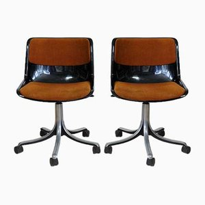 Vintage Model Modus Office Chairs by Osvaldo Borsani for Tecno, 1970s, Set of 2