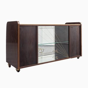 Brass, Glass, and Walnut Sideboard, 1950s