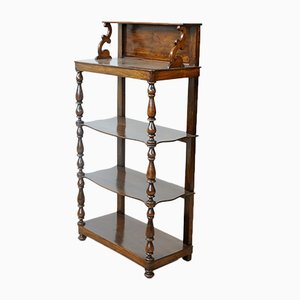 Antique Solid Walnut Shelving Unit with Columns