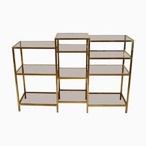 Italian Modern Brass and Glass Shelving by Romeo Rega, 1960s