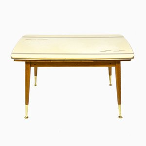 Vintage German Folding Beech and Brass Coffee Table, 1970s