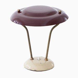 Lámpara de mesa italiana Mid-Century de latón y metal, años 50