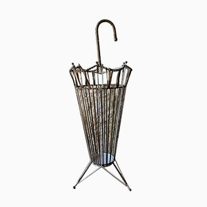 Mid-Century Brass and Metal Umbrella Stand with Tripod Feet