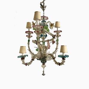Lámpara de araña italiana de cristal de Murano, años 30