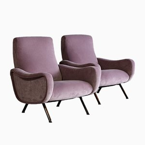 Mid-Century Italian Velour Armchairs by Marco Zanuso for Arflex, 1959, Set of 2