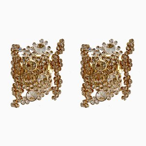 Vintage German Brass Sconces from Palwa, 1970s, Set of 2