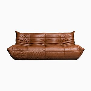 Vintage French Leather Sofa by Michel Ducaroy for Ligne Roset, 1970s