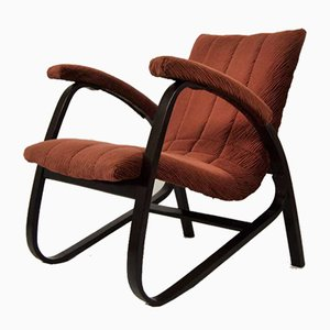 Fabric and Wood Lounge Chair by Jan Vanek, 1930s