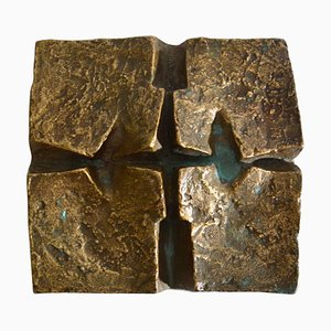 Brutalistische Wand- oder Tischdekoration aus Bronze & Gusseisen, 1960er