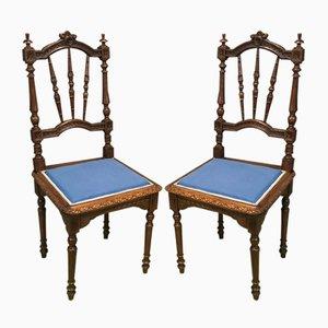 Antike handgefertigte französische Esszimmerstühle aus Holz, 2er Set