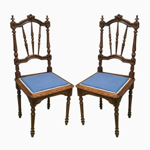 Antique Hand-Crafted French Wooden Dining Chairs, Set of 2