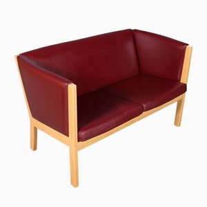 Model 285/2 Danish Beech & Leather Sofa by Hans J. Wegner for Getama, 1990s