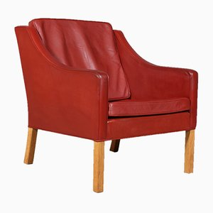 Vintage Danish Oak & Leather Lounge Chair by Børge Mogensen for Fredericia, 1980s
