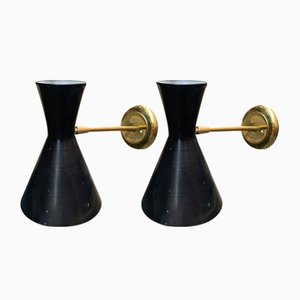 Mid-Century Italian Brass Sconces, 1950s, Set of 2