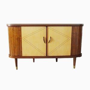 Mueble bar alemán Mid-Century de madera y latón, años 50