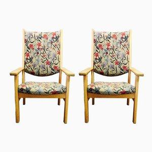 Moderne Sessel mit Gestell aus Eiche im skandinavischen Stil von Hans J. Wegner für Getama, 1950er, 2er Set