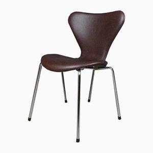 Sedia da pranzo in pelle anilina di Arne Jacobsen per Fritz Hansen, Danimarca, inizio XXI secolo